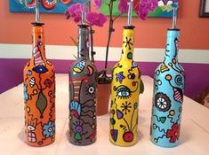 Miro Inspired Contemporary Hand Painted Glass Bottles for Oils, Vinegars, Soaps, Liqueurs; Olive Oil