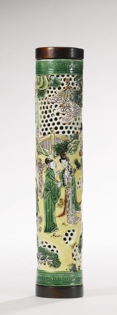 A rare susancai openwork cylindrical perfumer, Qing dynasty, Kangxi period