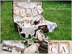 Beautiful Vintage Suitcase - Wedding Card Holder   This is a beautiful vintage card holder for you guests to place their cards in. Decorated with Cards Bunting & Small Fabric Bunting & Ivory Lace Ribbon & Vintage Wedding Photographs & Vintage Wedding Tag & Pearls & Lace Doily.