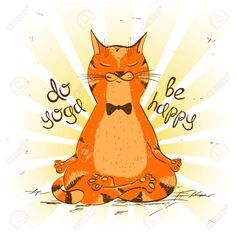 Funny illustration with cartoon red cat sitting on lotus position of yoga. Yoga Room Design, Yoga Studio Design, Lotus Position, Lotus Pose, Cat Ideas, Red Cat, Funny Illustration, Yoga Art, Yoga Poses For Beginners