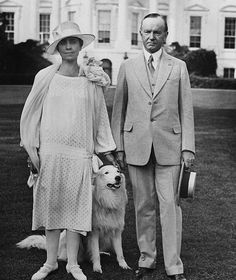 President Calvin Coolidge and First Lady Grace walk on the White House grounds with one of their six dogs. Presidents Wives, American Presidents, Republican Presidents, Black Presidents, Us History, American History, Calvin Coolidge, Presidential History, Historia Universal