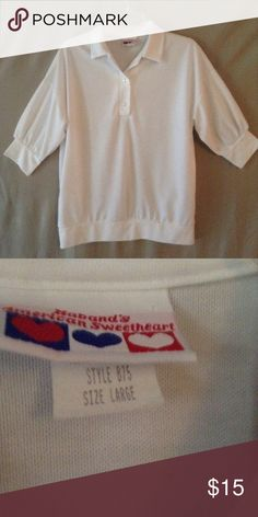 Plus size AMERICAN SWEAT HEART TOP I don't think I have ever seen a shirt as white as this one its Mr. Clean eligible sheer and loose size says large but it's definitely a plus size 1x Tops Tees - Short Sleeve