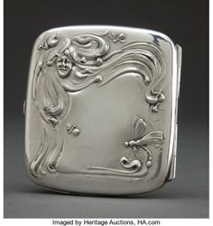 Silver Smalls:Cigarette Cases, A LA PIERRE SILVER CIGARETTE CASE . La Pierre Mfg. Co., New York,New York & Newark, New Jersey, circa 1900. Marks: L,STE...