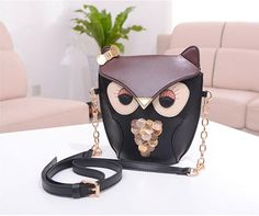 Fashion Leather Woman Handbag Cute Owl Print Satchel Messenger Shoulder Handbag  #Handmade #MessengerCrossBody