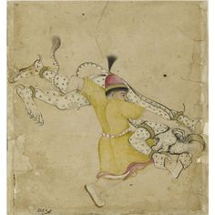 """A HERO TOPPLES A DEMON, DECCAN OR RAJASTHAN, LATE 17TH CENTURY    Ink and opaque watercolour on paper, inscribed at lower left """"Rustam and Demon""""  24.1 by 22.5cm. (9½ by 9 7/8 in."""
