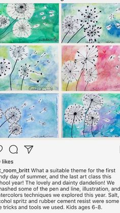 I love dandelion art…like poppy…those are my two favourite flowers for craft… - Easy Crafts for All Kindergarten Art, Preschool Art, Cherry Blossom Painting, Dandelion Art, 2nd Grade Art, Ecole Art, Plant Art, Art Classroom, Summer Art