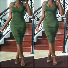 SALE | Green Tank Dress Bodycon tank dress featuring ruching throughout the bodice.   *Modeled in small.  PLEASE DO NOT BUY THIS LISTING. I WILL MAKE A SEPARATE ONE FOR YOU WITH YOUR SIZE. Boutique  Dresses Midi