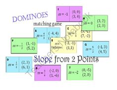 Dominoes like Matching Game- Finding Slope with 2 Points Activities from CarynLovesMath on TeachersNotebook.com (3 pages)  - Dominoes like matching game to practice finding the slope given 2 points.