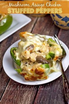 Philly Style Mushroom Asiago Chicken Stuffed Peppers | bakeatmidnite.com | #mushroomasiagochicken #stuffedpeppers