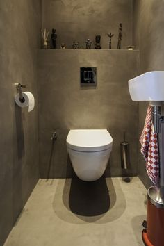 Space Saving Toilet Design for Small Bathroom - Home to Z Wc Design, Beton Design, Small Room Design, Toilet Design, Concrete Design, Bathroom Design Small, Bathroom Interior Design, Space Saving Toilet, Small Toilet Room