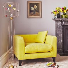 yellow living room ideas, lounge armchair