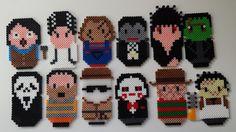 Perler horror alphabet A-L: Annie Wilkes, Bride of Frankenstein, Chucky… Hama Beads Patterns, Beading Patterns, Perler Coasters, Pixel Art, Halloween Beads, Embroidery Alphabet, Fusion Beads, Ghost Faces, Perler Bead Art