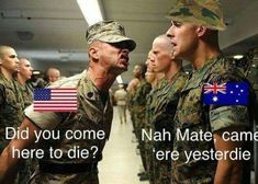 "38 Random Memes To Start Your Day Off With A Bang - Funny memes that ""GET IT"" and want you to too. Get the latest funniest memes and keep up what is going on in the meme-o-sphere. Australian Memes, Aussie Memes, Australian Accent, Funny Jokes, Hilarious, Ironic Memes, Australia Funny, Military Memes, Funny Military"