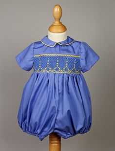 Smocked+bloomer+in+blue+100+cotton++l'île+aux+fées++by+lileauxfees,+€75.00