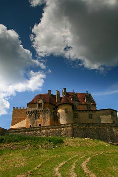 Mighty walls of Biron castle, Aquitaine, France