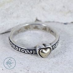Sterling Silver - BRIGHTON Gold Accent Heart 3.1g - Ring (6.5) EQ4852