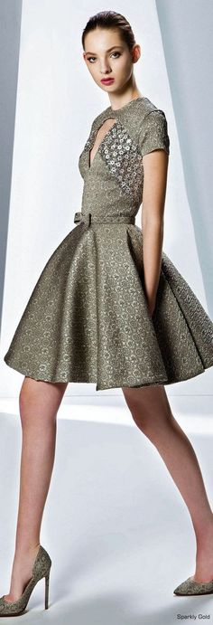 gray dress @roressclothes closet ideas women fashion outfit clothing style Georges Hobeika F/W 2015-2016: