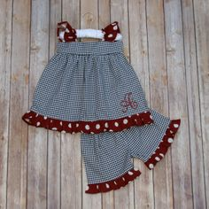 Black Houndstooth & Crimson Polkadot Shorts Set