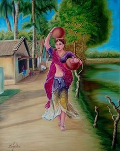 Arts And Crafts Ideas Indian Women Painting, Indian Art Paintings, Modern Art Paintings, Beautiful Paintings, Paintings Online, Village Scene Drawing, Art Village, Indian Village, Village Photos