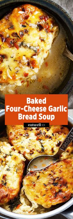 That warm-you-right-up goodness cheesy garlic bread soup is just the thing you need for a cozy evening!