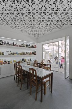 dining-rooms-white-dining-tables-open-shelving-painted-ceilings-restaurants
