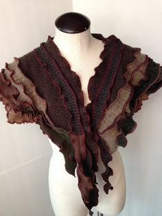 Scarf, Shawl, Cape, Upcycled Recycled Wool Sweaters, Boho, Steampunk, Hippie, Shabby Chic Styles, #SCF120