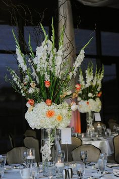Striking wedding centerpieces - with a different color rose or cala lily for each season Wedding Flower Arrangements, Flower Centerpieces, Wedding Centerpieces, Wedding Table, Floral Arrangements, Wedding Decorations, Centerpiece Ideas, Orange Wedding, Floral Wedding