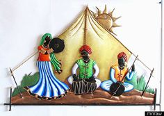 Rajasthani Musicians in the Desert - Wall Hanging - Other Metal Statues (Wrought Iron) Interior Color Schemes, Interior Paint Colors, Interior Painting, Mural Painting, Mural Art, Painting Doors, Fabric Painting, Art Paintings, Wall Murals