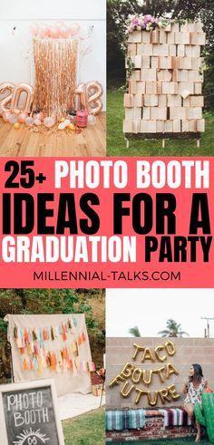 25 Photo Booth Ideas for a Graduation Party Graduation Party Desserts, Grad Parties, Party Pictures, Party Photos, Picture Backdrops, Graduation Pictures, Graduation Outfits, Letter Balloons, Backdrops For Parties