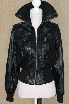 Womens Coat J2 size small Black 45% Polyvinyl Chloride/15% polyurethane cute  #J2 #Aviator #any