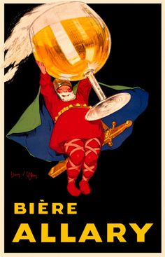 Biere Allary by Jean D'ylen 1920 French - Beautiful Vintage Poster Reproductions. This vertical french wine and spirits poster features a bearded man holding a giant stemmed glass of beer over his head. Giclee Advertising Print. Classic Posters