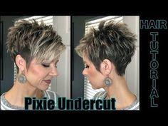 Undercut Pixie Timed Hair Tutorial, - Frisuren - Haare und Make-up Short Pixie Haircuts, Pixie Hairstyles, Short Hairstyles For Women, Hairstyles With Bangs, Short Hair Cuts For Women Over 50, Short Undercut Hairstyles, Short Funky Hairstyles, Pixie Cut With Undercut, Braided Hairstyles