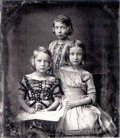 The Daguerreotype portrait of three girls, circa 1845.