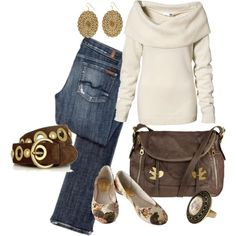 casual outfit - love the cream sweater