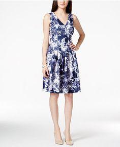 Tommy Hilfiger Peony-Print Seam-Detail Fit & Flare Dress, Only at Macys.com - Dresses - Women - Macy's