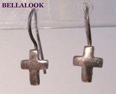 SILPADA W0330 STERLING SILVER FAITHFUL PETITE CROSS EARRINGS RETIRED #SILPADA #DropDangle