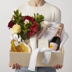 Indulgence Spa Gift Box with Flowers   Champagne