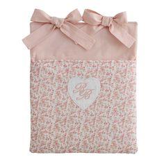 Tasca per lettino neonato motivi fioriti in cotone rosa 28 x 33 cm VICTORINE