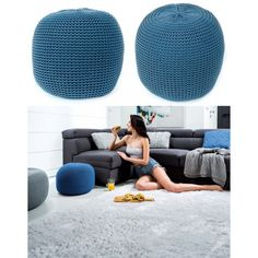 Modré pletené taburetky s výplňou