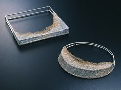 "Haruko Sugawara - ""Geometric Shape"" & ""Ripples"" necklaces - silver, 20k gold, Shippo - 200x200x20mm & 180x180x20mm   (crochet collection, 1996) (each piece is knit in silver and/or gold wire, then covered in cloisonne glaze and baked in a kiln to fix the form). - Japan Jewelry Art Show 1996"