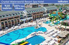 """Crystal Waterworld Resort Spa Hotel'de özel plajı ve su kaydıraklarıyla """"Ultimate Her Şey Dahil"""" bir tatil sizi bekliyor."""