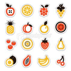 """logo. simple fruit design. apple has square shaped seeds.""  We could also do something similar to the last pin I made, but make the fruits more logo-ish."