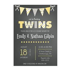 Adorable Set of 12 Customizable Personalised Child Bathe Invites and Envelopes with Chalk Bunting Twins in Yellow NV096