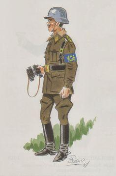 Espana - Estado Mayor 1943 Capitán con uniforme de campaña, pin by Paolo Marzioli