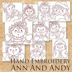 Hand Embroidery Raggedy Ann Patterns - Redwork Designs - Raggedy Annie and Andy in 4 Sizes - PDF - Instant Download