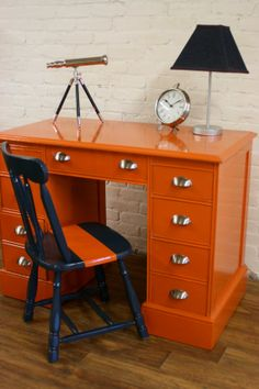 Painted Furniture Mid Century Dresser and chair - this is REALLY cute Orange Furniture, Mid Century Dresser, Furniture, Furniture Makeover, Indoor Furniture, Painted Desk, Diy Furniture, Painted Furniture, Mid Century Desk