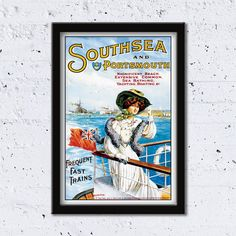 1905 Southsea and Portsmouth //  // High Quality Fine Art Reproduction Giclée Print / Vintage Poster / Canvas by WiredWizardWeb on Etsy