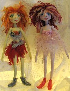 SUGAR & SPICE Art Dolls 2 soft sculpture dolls by Kaeriefaerie52, $55.00