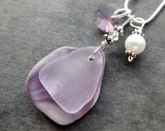 Sea Foam Sea Glass Necklace Sand Dollar Beach Glass Sterling Jewelry Pendant