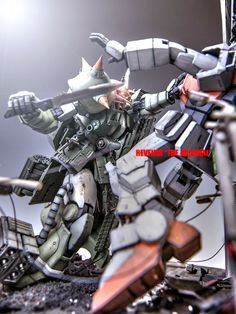 GUNDAM GUY: MG 1/100 Zaku II Vs. Gundam Gound Type 'REVENGE THE ORIGINAL' - Diorama Build